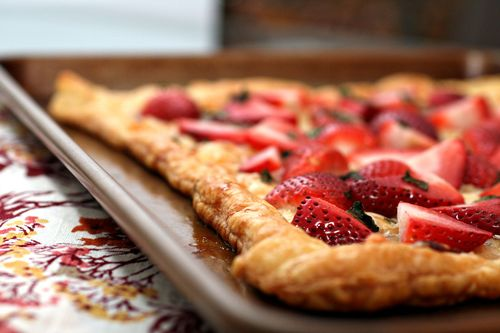 Strawberry gruyere tart